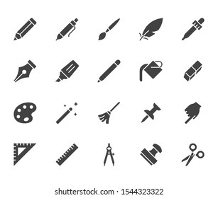 Drawing tools flat glyph icons set. Pen, pencil, paintbrush, dropper, stamp, smudge, paint bucket, vector illustrations. Black minimal signs for web interface. Silhouette pictogram pixel perfect.