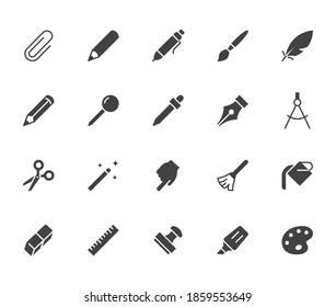 Drawing tools flat icons set. Pen, pencil, paintbrush, dropper, stamp, smudge, paint bucket minimal silhouette vector illustrations. Simple glyph signs for web interface.