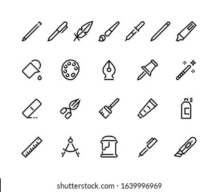 Drawing tools line icons. Minimal pencil pen brush bucket pallet stroke pictograms, writing and art web interface symbols. Vector set flat seal pictogram
