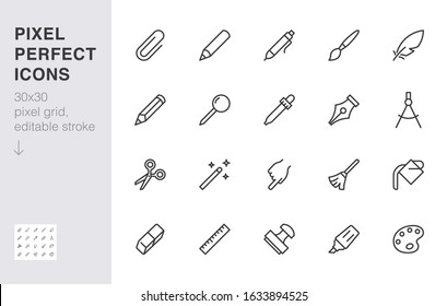 Drawing tools line icons set. Pen, pencil, paintbrush, dropper, stamp, smudge, paint bucket minimal vector illustrations. Simple outline signs for web interface. 30x30 Pixel Perfect. Editable Strokes.