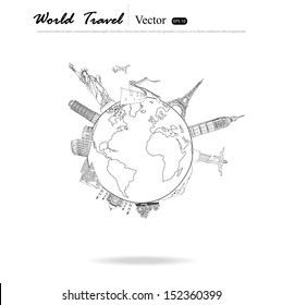 Drawing travel around the world (Japan,France,Italy ,New York,India,egypt)
