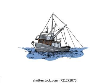 Drawing of trawler fishing at the sea