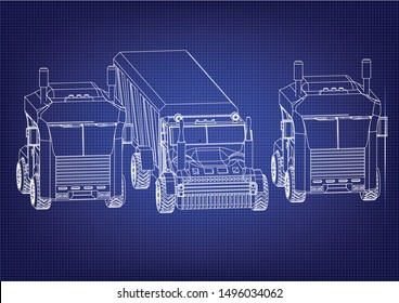 Drawing of a trucks on a blue background