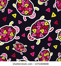 Drawing in Turtle. Mola Art from Panama. Ethnic boho seamless pattern. Can be used for wallpaper, textile, invitation card, wrapping, web page background.