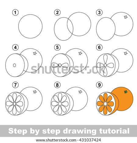 How To Draw Fruit For Kids Orange Drawing Easy
