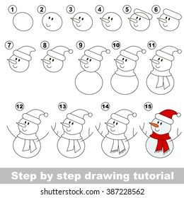 Drawing tutorial for children. How to draw the funny Snowman