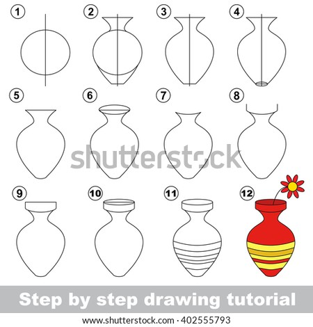 Drawing Tutorial Children How Draw Vase Stock Vector Royalty Free
