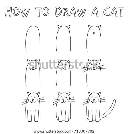drawing tutorial children how draw cat stock vector