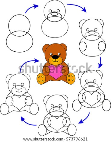 Drawing Tutorial Children Page Shows How Stock Vector Royalty Free