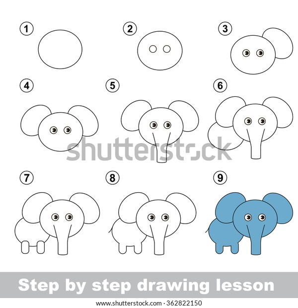 Drawing Tutorial How Draw Elephant Stock Vector Royalty Free