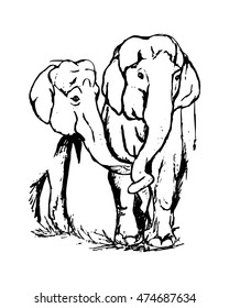 Drawing of two lovers elephants, abstraction on white background vector