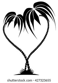 drawing of two palm trees in the form of heart on the isolated background