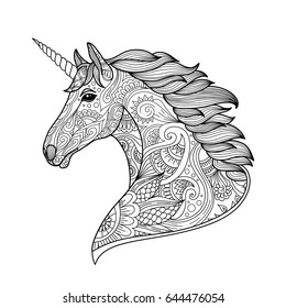 Drawing unicorn zentangle style for coloring book, tattoo, shirt design, logo, sign. stylized illustration of horse unicorn in tangle doodle style