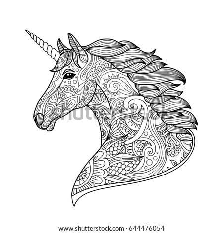Drawing Unicorn Zentangle Style Coloring Book Stock Vector ...