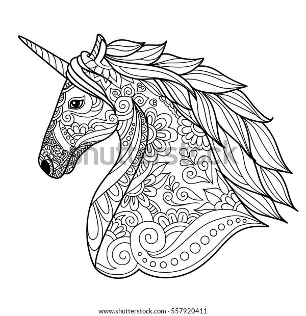 Drawing Unicorn Zentangle Style Coloring Book Stock ...