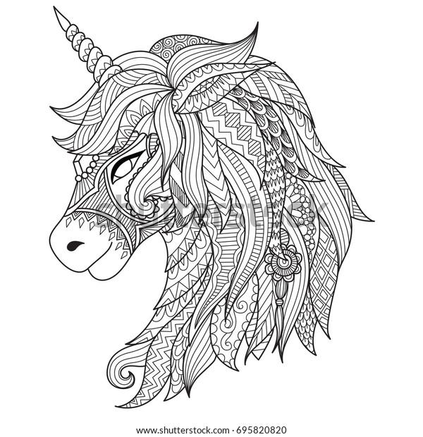 Immagine Vettoriale Stock 695820820 A Tema Disegno Stile Unicorno
