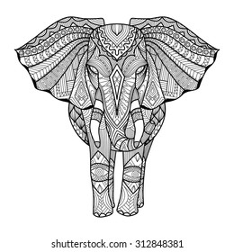 Drawing unique ethnic elephant for print, pattern,logo,icon,shirt design,coloring page.