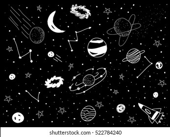 drawing universe with black background