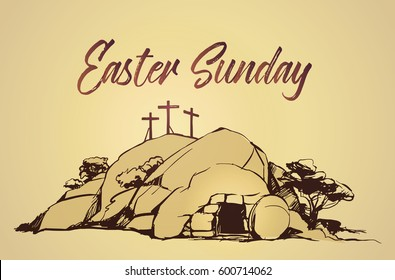 Drawing vector Calvary, Cross, cave resurrection
