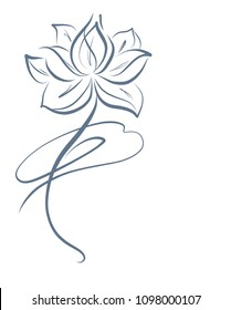Drawing vector graphics with floral pattern for design,  Religion, symbol, lotus, water lily, lily, Buddhism, Buddha, Hinduism