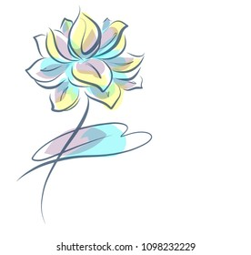 Drawing vector graphics with floral pattern for design. Floral flower natural design. Graphic, sketch drawing. lily, Religion, symbol, lotus, water lily, lily, Buddhism, Buddha, Hinduismlogotype