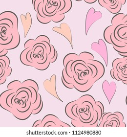 Drawing vector graphics with floral pattern with hearts. Seamless background. Floral flower natural design. Graphic, sketch drawing. Rose. Hearts