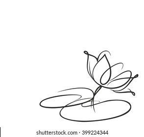Drawing vector graphics with floral pattern for design. Floral flower natural design. Graphic, sketch drawing.  Religion, symbol, lotus, water lily, lily,