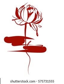 Drawing vector graphics with floral pattern for design. Floral flower natural design. Graphic, sketch drawing. lily,  Religion, symbol, lotus, water lily, lily, Buddhism, Buddha, Hinduism