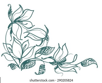 Drawing vector graphics with floral patterns with   tulips for design. Floral flower natural design. Graphic, sketch drawing.