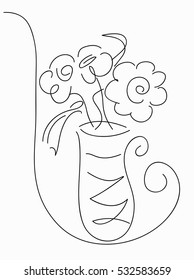 Drawing vector graphics with a vase of flowers  for design.