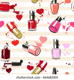 Drawing vector illustration with nail polish, hearts and splash paint. Seamless pattern