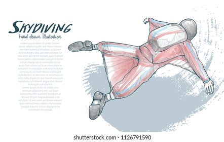 drawing vector of skydiving. Vector sport illustration. Extreme sport background. skydiving wing suit.