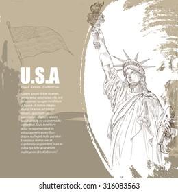 Drawing vector Of USA Symbols. statue of liberty