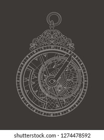 Drawing a vintage astrolabe with white lines on a dark background.