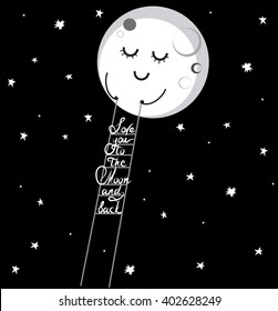 """Drawing of white flat smiling cartoon moon in the black night sky with stars keeps ladder with phrase """"Love you to the moon and back"""" / vector eps 8"""