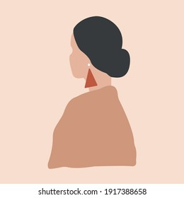 Drawing white Woman's Face Collage Sketch Portrait Brush Strokes Beige Brown Cream Modern Abstract Contemporary Art Scandinavian Style Terracotta Palette Vector EPS Clipart