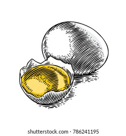 Drawing of whole egg and yolk in the eggshell