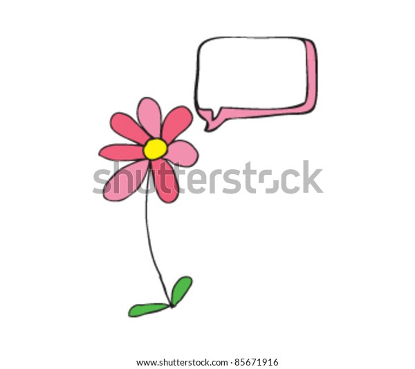 drawing of a wild flower with speech bubble