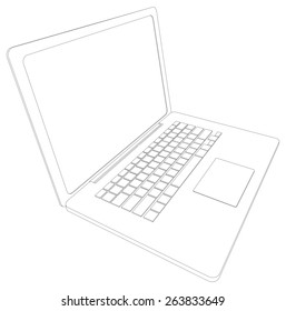 Drawing of wire-frame open laptop. Perspective view. Vector illustration rendering of 3d