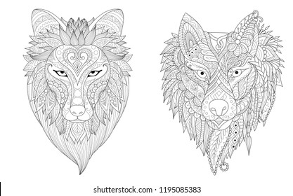 Drawing wolf collection for tattoo, printed tee and adult coloring book pages for anti stress. Vector illustration.