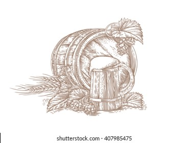 Drawing of wooden beer mug, wooden barrel, barley, and hop cones with leaves