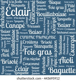 Drawing from the words. The French cuisine. The name of the French dishes. word. the word