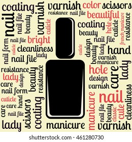 drawing from the words. nail Polish. manicure. a word about the manicure