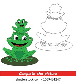 Drawing Worksheet For Preschool Kids with Easy Gaming Level of Difficulty, Simple Educational Game for Kids to Finish the Picture by Sample and Draw the Beautiful Mother Green Frog