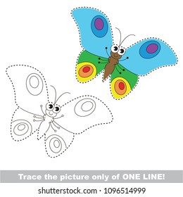 Drawing worksheet for preschool kids with easy gaming level of difficulty, simple educational game for kids one line tracing of Butterfly Insect