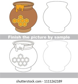 Drawing worksheet for preschool kids with easy gaming level of difficulty, simple educational game for kids to finish the picture by sample and draw the Honey Pot