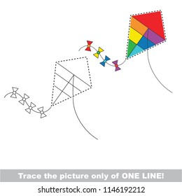 Drawing worksheet for preschool kids with easy gaming level of difficulty, simple educational game for kids one line tracing of rainbow Kite