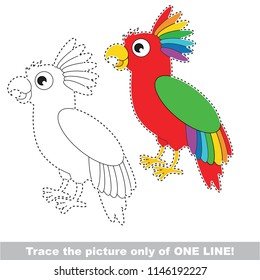 Drawing worksheet for preschool kids with easy gaming level of difficulty, simple educational game for kids one line tracing of rainbow Pirate Parrot
