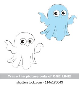 Drawing worksheet for preschool kids with easy gaming level of difficulty, simple educational game for kids one line tracing of Ghost
