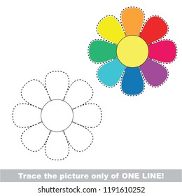 Drawing worksheet for preschool kids with easy gaming level of difficulty, simple educational game for kids one line tracing of Rainbow Flower